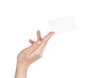 Blank business card in woman's hand Stock Image