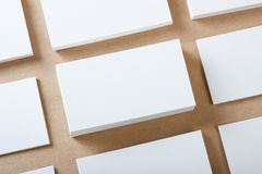 Blank business cards. Crafts background Stock Image