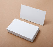 Blank business cards. Identity design, corporate templates, company style, blank business cards on crafts background Stock Photos