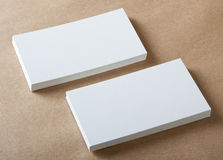 Blank business cards. On crafts background, identity design, corporate templates, company style Stock Images