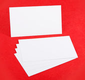 Blank business cards. Identity design, corporate templates, company style, blank business cards on red background Stock Photo