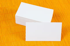 Blank business cards. On a yellow bamboo mat, identity design, corporate templates, company style Stock Image