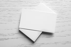 Blank business cards. On wooden background Stock Photos
