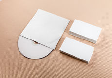 Blank business cards and CD Stock Photography
