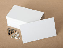 Blank business cards with clip. On crafts background, identity design, corporate templates, company style Stock Photos
