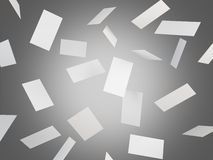 Blank business cards flying. Many blank business cards falling, grey background. Concept of business contact. 3D rendering Stock Photography