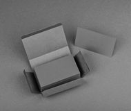 Blank business cards on a gray background Royalty Free Stock Photography