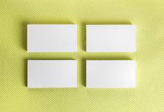 Blank business cards on green background. Stock Photography