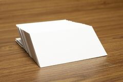 Free Blank Business Cards Locked On Stack On Wooden Textured Background, 3.5 X 2 Inches Size As Template For Design Presentation, Royalty Free Stock Photography - 172876807
