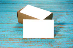 Blank business cards with paper box Royalty Free Stock Photo