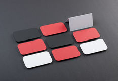 Blank business cards with rounded corners on a gray background Royalty Free Stock Photography
