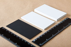 Blank business cards and ruler. On crafts background, identity design, corporate templates, company style Stock Photos