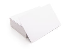 Blank business cards. Stack up on white with clipping path Royalty Free Stock Image