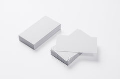 Blank Business Cards on  on white. Background with soft shadows Royalty Free Stock Photography