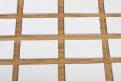 Blank business cards on a wooden background Stock Image