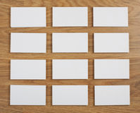 Blank business cards on a wooden background Royalty Free Stock Photography