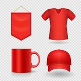 Blank business corporate promotional red identity gifts, packaging and souvenirs template set. Vector Royalty Free Stock Images