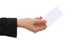 Blank businesscard in woman's hand Royalty Free Stock Photo