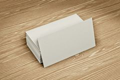 Blank bussiness cards on wood background stock illustration