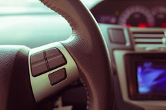 Blank button control system on car steering wheel used for place Royalty Free Stock Photography