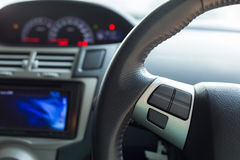 Blank button control system on car steering wheel Royalty Free Stock Images