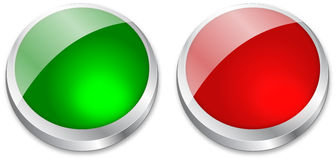 Blank button on green and red Stock Images