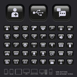 Blank buttons and Internet Icons. Royalty Free Stock Photo