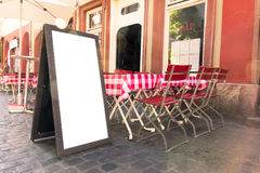 Blank Cafe Menu Red White Table Restaurant Outdoors Summer Day F Stock Photography