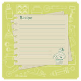 Blank cake themed recipe cards for your sweet creations. Sweet recipe vector card template. Kitchen design elements Stock Image