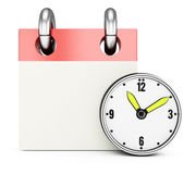 Blank calendar with clock. On white background. 3d rendering image Royalty Free Stock Photography