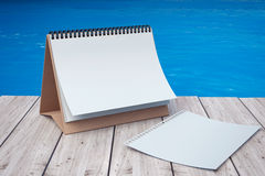 Blank Calendar in front of Ocean. 3d Rendering. Blank Calendar in front of Ocean extreme closeup. 3d Rendering Stock Photography