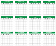 Blank calendar. Without numbers , can be used for planner or simply write the desired numbers royalty free illustration