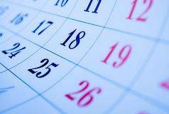 Blank calendar viewed obliquely Royalty Free Stock Images