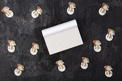 Blank Calendars with Toy Snowman royalty free stock images