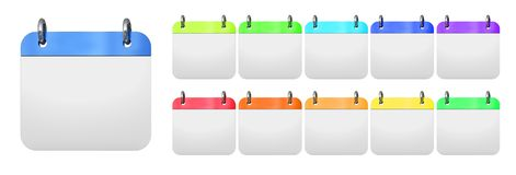 Blank daily calendars. On white background 3d illustration vector illustration