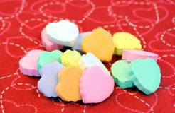 Blank candy hearts stacked. Stock Photo