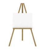 Blank Canvas on an Easel. Isolated on White - 3d illustration stock illustration