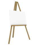 Blank Canvas on an Easel. Isolated on White - 3d illustration Royalty Free Stock Photos