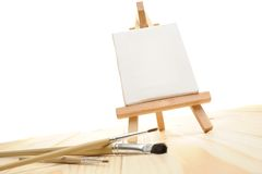 Blank canvas on easel Stock Photo