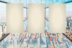Blank canvas in glass room Royalty Free Stock Image