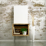 Blank Canvas Mockup on table cabinet Royalty Free Stock Images