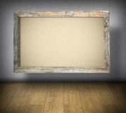 Blank canvas in old wooden frame Royalty Free Stock Photo