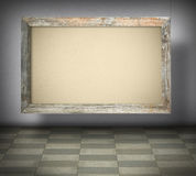 Blank canvas in old wooden frame Stock Photos