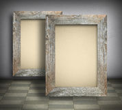 Blank canvas in old wooden frames Stock Photography