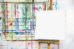 Blank canvas in painter's atelier. Blank white canvas in painter's atelier Stock Images