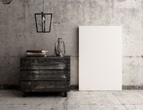 Blank Canvas Poster on concrete rustic wall interior Royalty Free Stock Photos