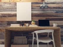 Blank Canvas on rustic wall retro hipster interior Stock Photography
