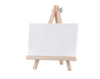 Blank canvas on wooden stand Royalty Free Stock Photos