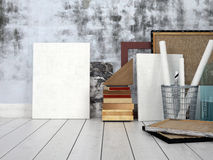 Blank canvasses against concrete wall Royalty Free Stock Photography