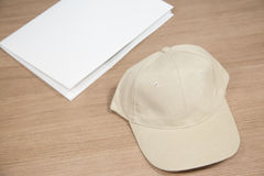Blank cap on table Stock Image